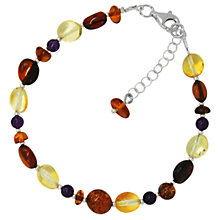 Buy Goldmajor Sterling Silver Amber And Amethyst Beaded Bracelet, Multi Online at johnlewis.com