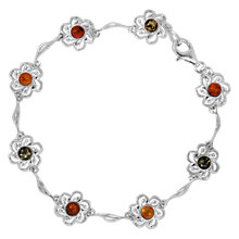 Buy Goldmajor Sterling Silver Amber Flower Bracelet, Cognac/Green Online at johnlewis.com