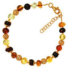 Buy Goldmajor Gold Plated Amber Bracelet, Gold/Multi Online at johnlewis.com