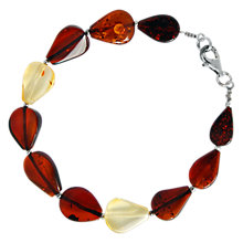 Buy Goldmajor Sterling Silver Baltic Amber Teardrop Bracelet, Multi Online at johnlewis.com