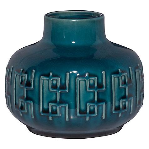 Buy John Lewis Scandi Pattern Squat Vase Blue Online At Johnlewis