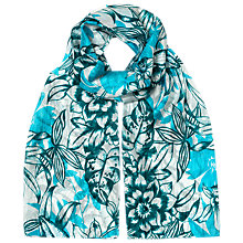 Buy East Sardinia Floral Print Silk Scarf, Celadon Online at johnlewis.com