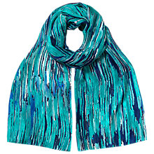 Buy East Broken Stripe Print Silk Scarf, Emerald Online at johnlewis.com