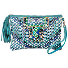 Buy East Mirror Embroidered Suede Clutch Bag, Turquoise Online at johnlewis.com