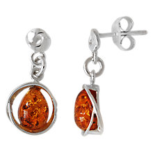 Buy Goldmajor Sterling Silver Amber Teardrop Earrings, Cognac Online at johnlewis.com