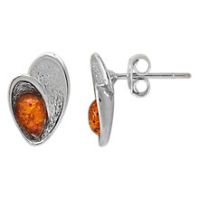Buy Goldmajor Sterling Silver Amber Teardrop Shell Stud Earrings, Silver/Cognac Online at johnlewis.com