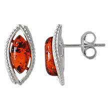 Buy Goldmajor Sterling Silver Amber Marquise Stud Earrings, Cognac Online at johnlewis.com