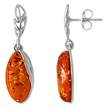 Buy Goldmajor Sterling Silver Amber Marquise Drop Earrings, Cognac Online at johnlewis.com