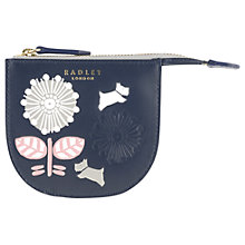 Buy Radley Folk Floral Leather Small Coin Purse, Navy Online at johnlewis.com
