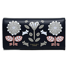 Buy Radley Folk Floral Leather Large Matinee Purse, Navy Online at johnlewis.com