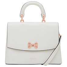 Buy Ted Baker Begonea Bow Leather Grab Bag, Ivory Online at johnlewis.com
