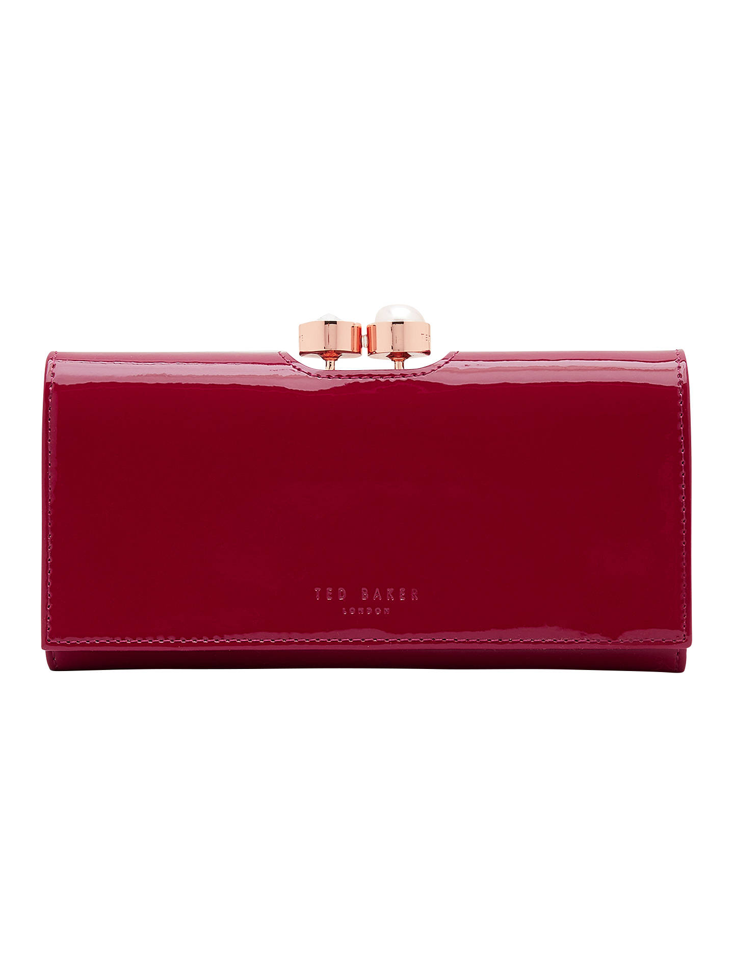 6de5c8198df Buy Ted Baker Cecilie Pearl Leather Matinee Purse, Dark Red Online at  johnlewis.com ...