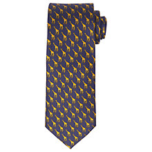 Buy John Lewis Giraffe Print Woven Silk Tie, Navy/Yellow Online at johnlewis.com