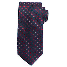 Buy John Lewis Dot Flower Silk Tie, Navy/Burgundy Online at johnlewis.com