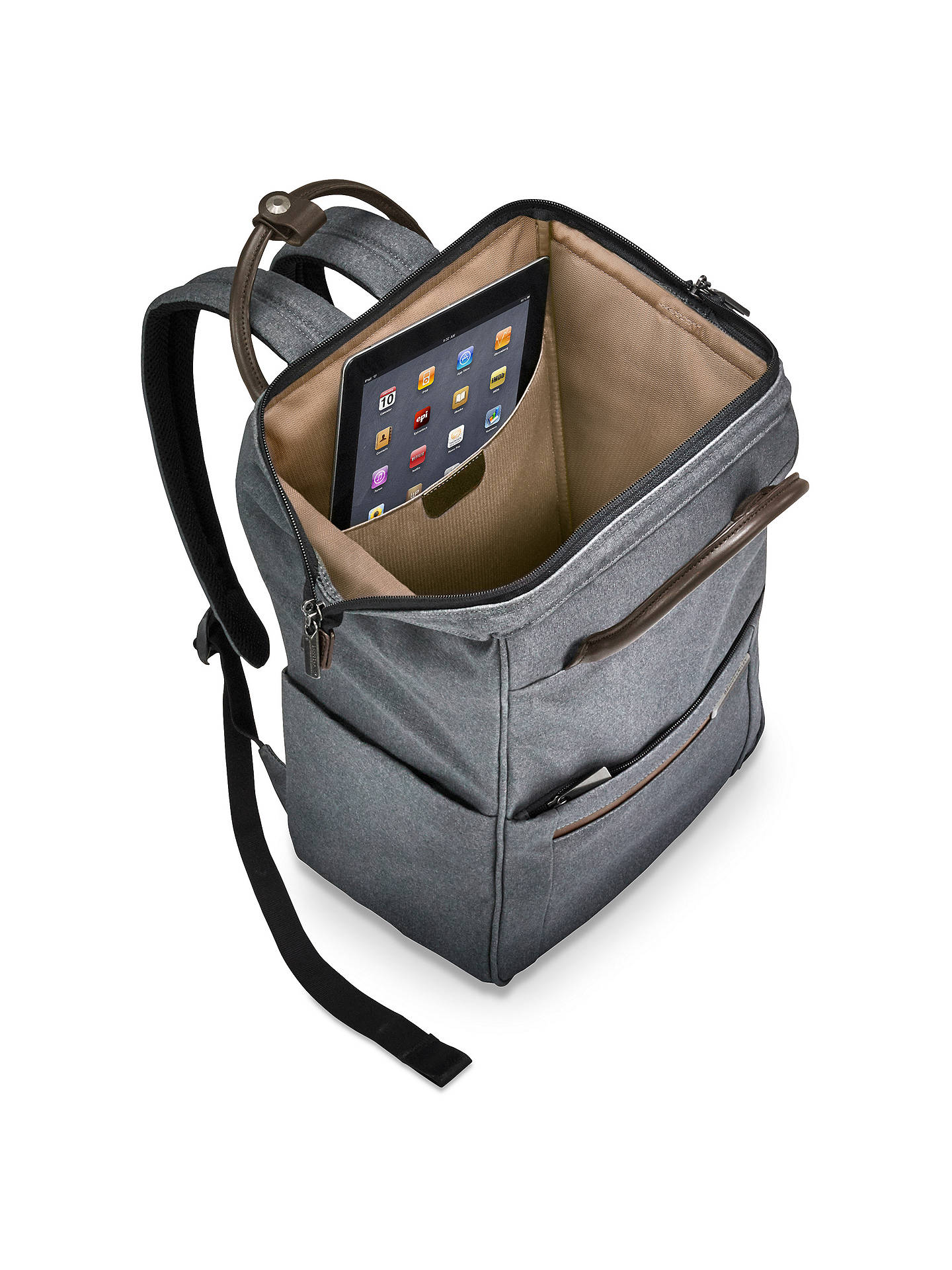 Buy Briggs & Riley Kinzie Frame Wide-Mouth Backpack, Grey Online at johnlewis.com