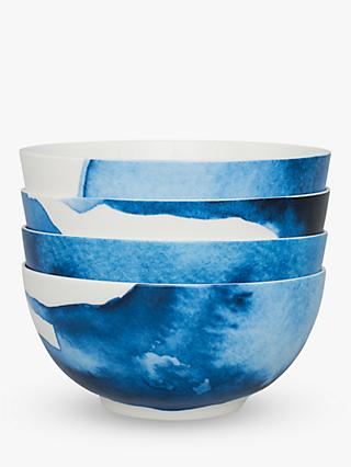 Rick Stein Coves of Cornwall Medium Pasta Bowl, Set of 4, Blue/White, Dia.21cm