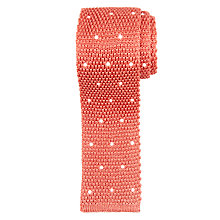 Buy Paul Smith Embroidered Dot Knit Silk Tie, Coral Online at johnlewis.com