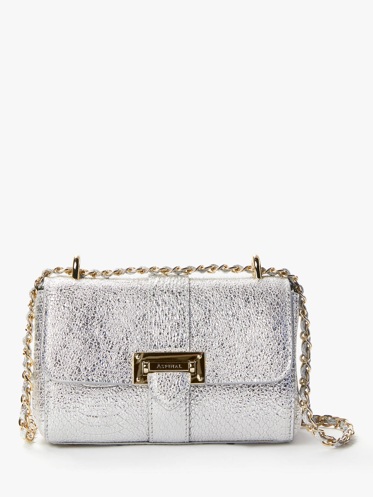 510534f51418 Buy Aspinal of London Lottie Leather Micro Cross Body Bag, Metallic Python  Silver Online at ...