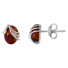 Buy Goldmajor Amber Sterling Silver Oval Stud Earrings, Cognac Online at johnlewis.com