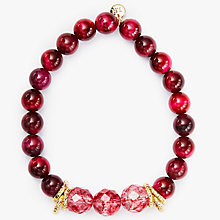 Buy Lola Rose Agnes Rock Crystal And Tiger Eye Bracelet, Burgundy/Fuchsia Online at johnlewis.com