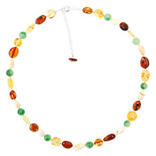 Buy Goldmajor Sterling Silver Amber and Jade Beaded Necklace, Multi Online at johnlewis.com