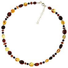 Buy Goldmajor Sterling Silver Amber And Amethyst Bead Necklace, Multi Online at johnlewis.com