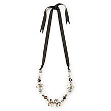 Buy One Button Crystal Bead Ribbon Necklace, Multi Online at johnlewis.com