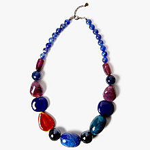 Buy One Button Beaded Statement Necklace, Deep Blue/Multi Online at johnlewis.com