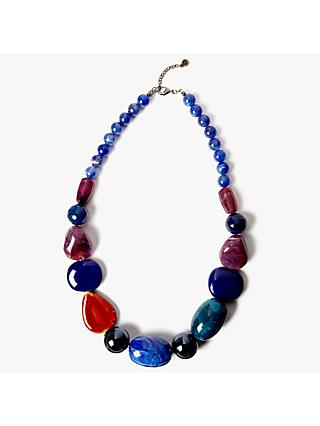 One Button Beaded Statement Necklace, Deep Blue/Multi