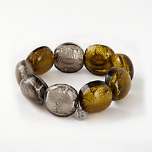 Buy One Button Bead Chunky Bead Bracelet, Silver/Lime Online at johnlewis.com