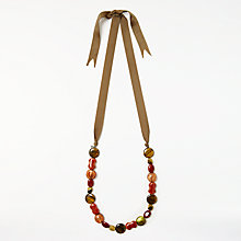 Buy One Button Ribbon Beaded Necklace, Orange Online at johnlewis.com