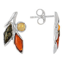 Buy Goldmajor Sterling Silver Amber Three Colour Flower Stud Earrings, Multi Online at johnlewis.com