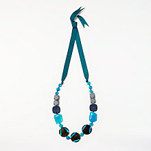 Buy One Button Long Beaded Ribbon Necklace, Turquoise/Multi Online at johnlewis.com