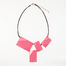 Buy One Button Rectangle Statement Necklace, Pink Online at johnlewis.com