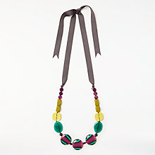 Buy One Button Long Ribbon Beaded Necklace, Multi Online at johnlewis.com