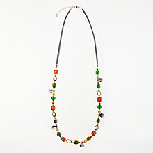 Buy One Button Mother Of Pearl and Beads Long Necklace, Black/Multi Online at johnlewis.com