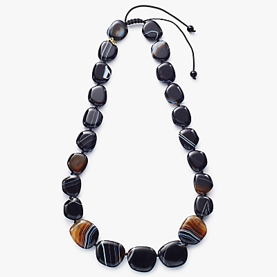 Lola Rose Quentin Striped Agate Necklace, Black/Coffee