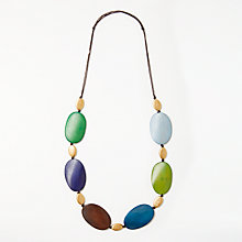 Buy One Button 6-1127 Wooden Block Necklace, Natural Online at johnlewis.com