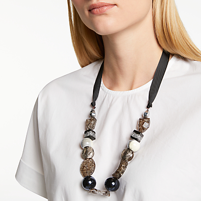 One Button Crackle Bead Ribbon Necklace, Multi