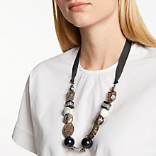Buy One Button Crackle Bead Ribbon Necklace, Multi Online at johnlewis.com
