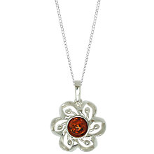 Buy Goldmajor Sterling Silver Amber Flower Pendant Necklace, Cognac Online at johnlewis.com