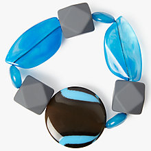 Buy One Button Statement Bead Stretch Bracelet, Turquoise/Multi Online at johnlewis.com