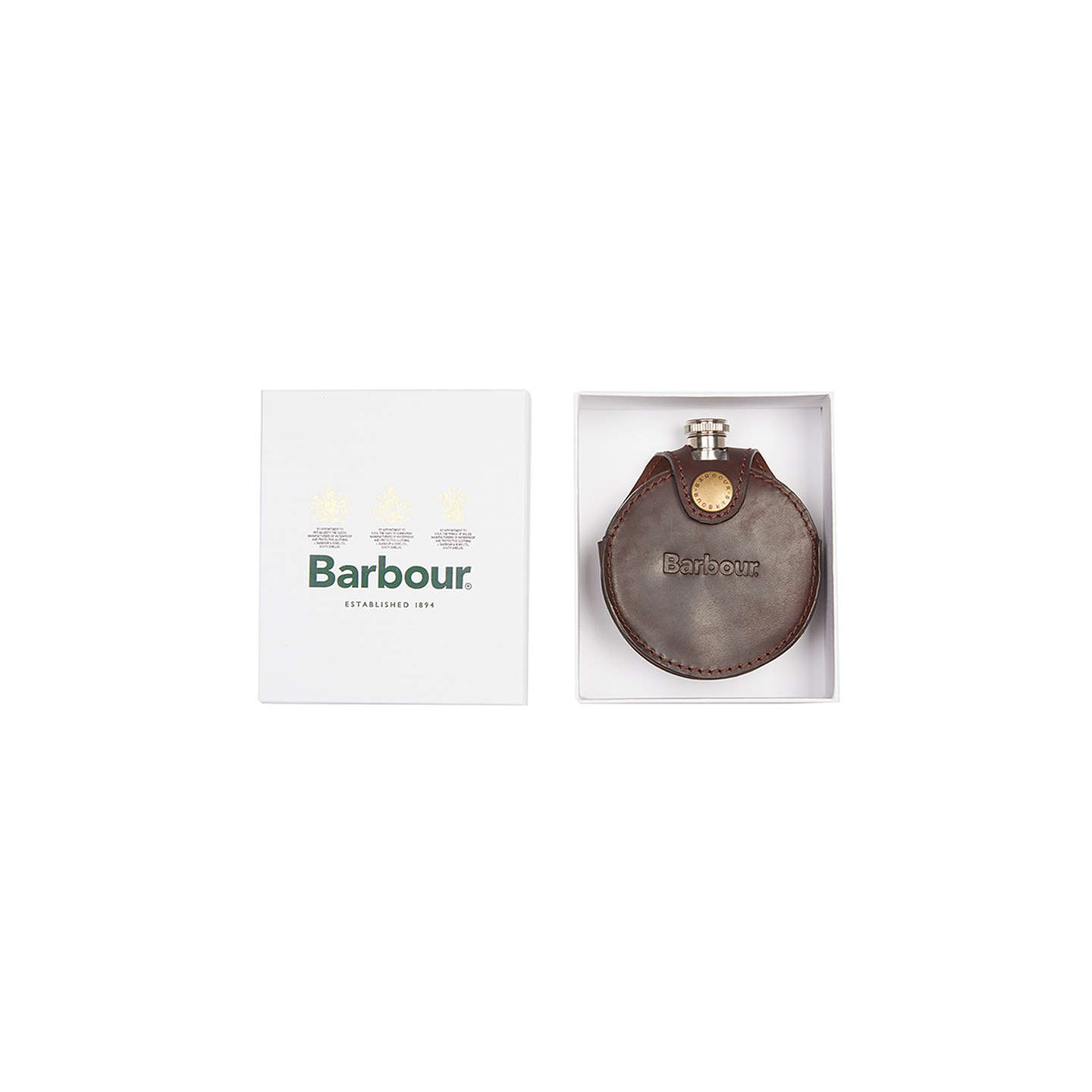 BuyBarbour Round Leather Hip Flask, Brown Online at johnlewis.com