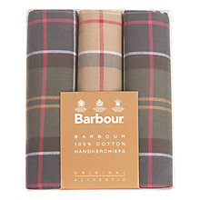 Buy Barbour Tartan Check Cotton Handkerchiefs, Pack Of 3, Green/Beige Online at johnlewis.com