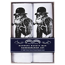 Buy Chase and Wonder Manners Maketh Man Handkerchiefs, Pack of 2, White Online at johnlewis.com