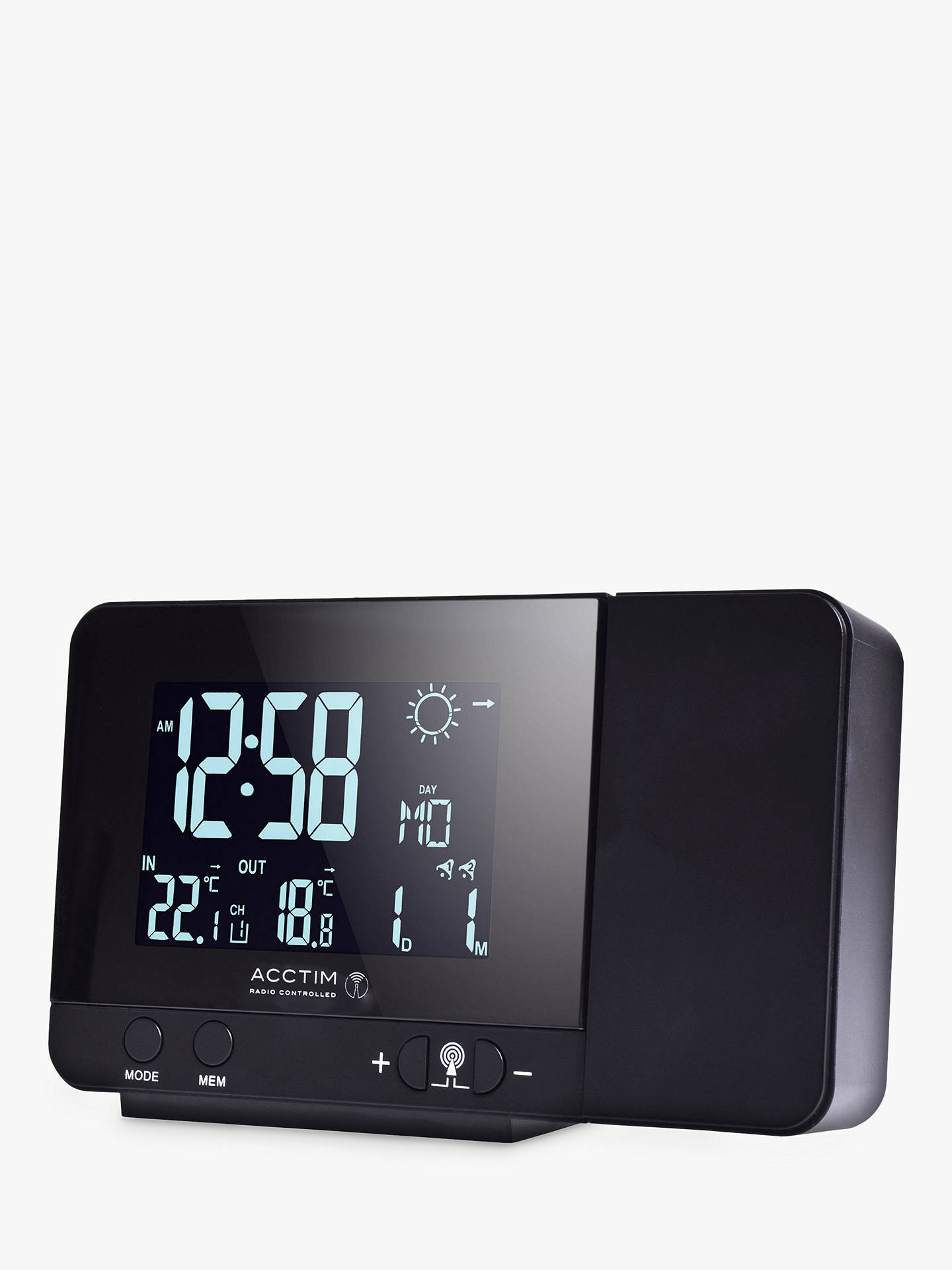 Buy Acctim Sirius Colour Change Radio Controlled Weather Station With Projector Clock, Black Online at johnlewis.com