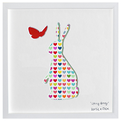 Bertie & Jack Bunny and Butterfly Framed 3D Cut Out, 20 x 20cm