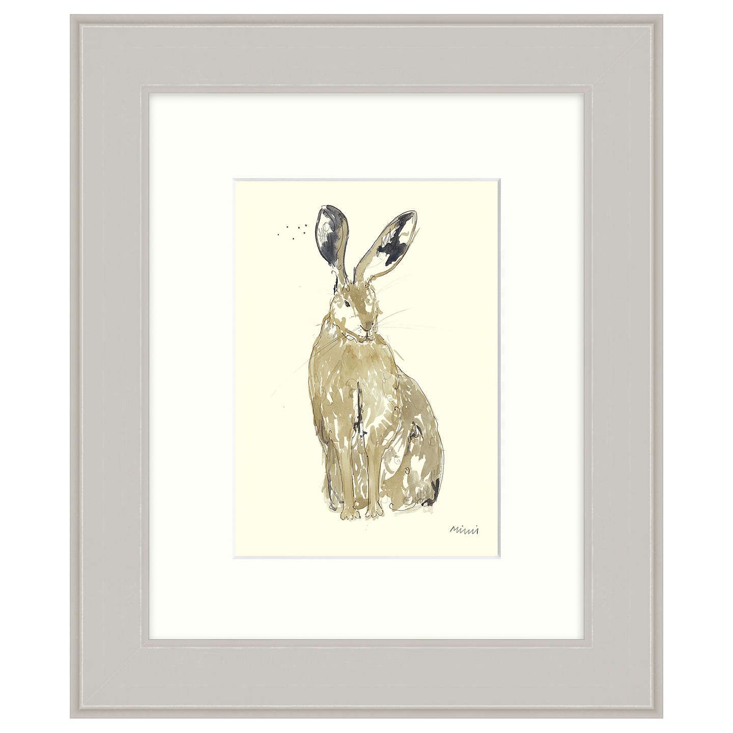 BuyMimi Emmet - Thinking Hare Framed Print, 31 x 37cm Online at johnlewis.com