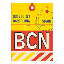 Buy Nick Cranston - Luggage Labels: Barcelona Unframed Print with Mount, 40 x 30cm Online at johnlewis.com