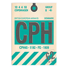 Buy Nick Cranston - Luggage Labels: Copenhagen Unframed Print with Mount, 40 x 30cm Online at johnlewis.com